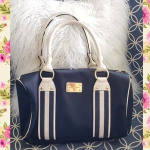 Michael Kors bag purse shoulder navy blue white